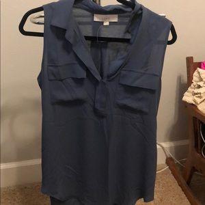 LOFT Blue Gray mixed Media sleeveless shirt